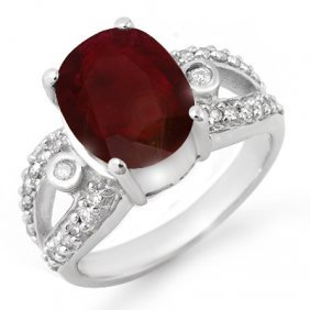 Genuine 4.0 Ctw Ruby & Diamond Ring 10K White Gold