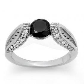 Natural 1.60 Ctw Black Diamond Ring 14K White Gold