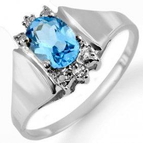 Genuine 1.23 Ctw Blue Topaz & Diamond Ring 10K Gold