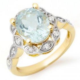 Genuine 2.65 Ctw Aquamarine & Diamond Ring 14K Gold
