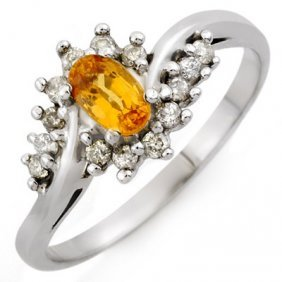 Genuine 0.55 Ctw Yellow Sapphire & Diamond Ring 10K Whi