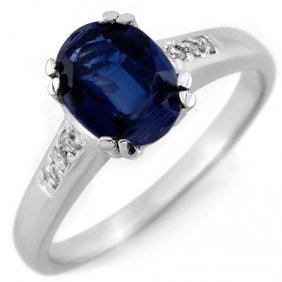 Genuine 1.35 Ctw Kunzite & Diamond Ring 10K White Gold