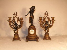 3-Piece French Clock Set With Psyche, Zephir And Fl