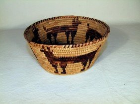 1930s 1940s Navajo Basket With Four Deer Design