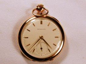 14K Gold Open Face Tiffany Pocket Watch