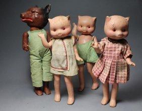 Freundlich Wolf & 3 Little Pigs
