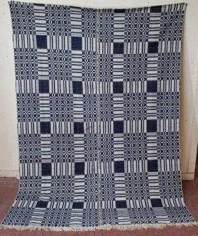 Blue And White Coverlet
