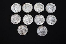 Ten 1922 Peace Dollars