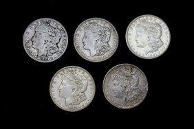 Five 1921-s Morgan Dollars