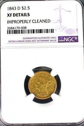 1843-d Gold Quarter Eagle Liberty $2.50