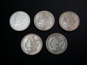 Five Mixed Morgan Dollars