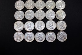 Twenty 1963-d Franklin Half Dollars
