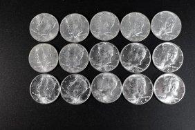 Fifteen 1964 Kennedy Half Dollars