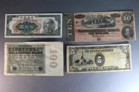 4 Pieces Of Old Currency