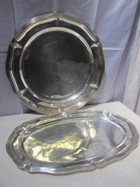 Set 2 Large Mexican Sterling Platters (110 Oz.) ***