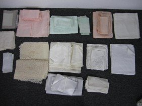 Lot Table Lace And Linens