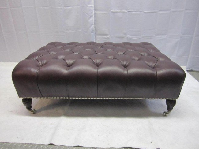 15 Chesterfield Style Large Leather Ottoman Lot 15