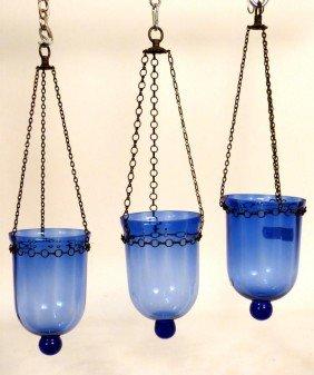 3 Blue Glass Lanterns
