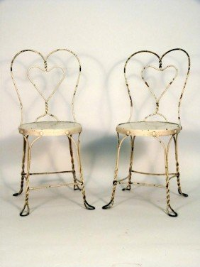 Pair Twisted Wire Framed Ice Cream Chairs