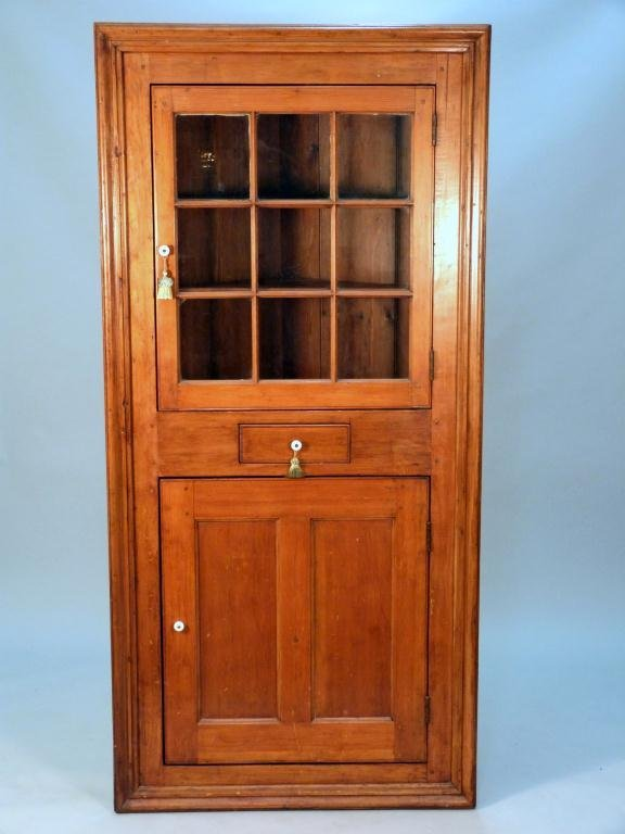 390 Antique American Tall Corner Cabinet Lot 390