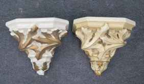 Two Painted Ceiling Brackets