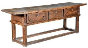 Spanish Baroque Walnut Table, Late 17th/early 18th C