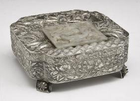 Chinese Silver Box With Jade Plaque