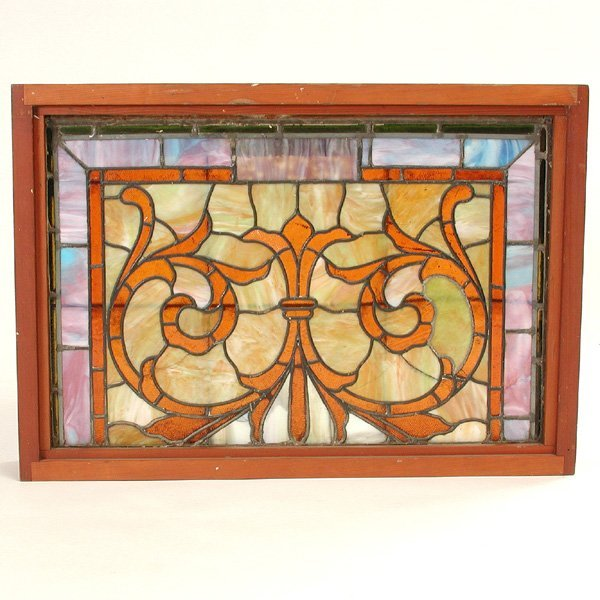45 stained glass panel framed lot 45