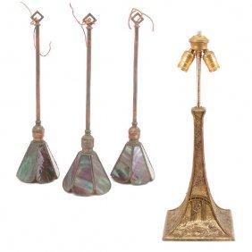 3 Art Nouveau Glass Pendants & Aesthetic Lamp