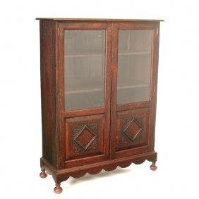 Victorian Oak Carved Bookcase