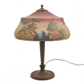 Pittsburgh Table Lamp, Reverse Painted