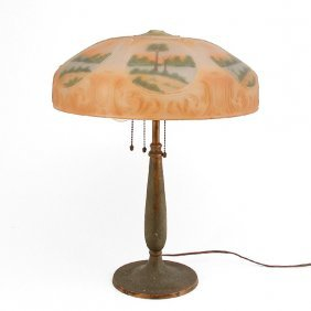 Reverse Painted Table Lamp, Handel Base