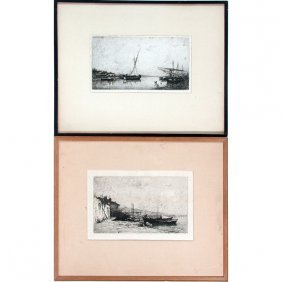 Adolphe Appian Etchings (2), Boats
