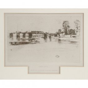 "J. Whistler Etching, ""Chelsea"""