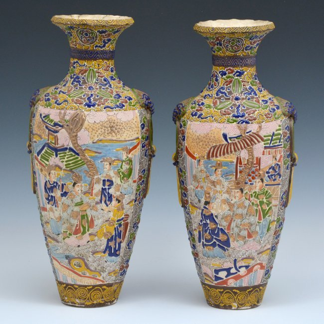 Pair Of Satsuma Vases 16 Quot Tall Mark At Bottom Lot 432