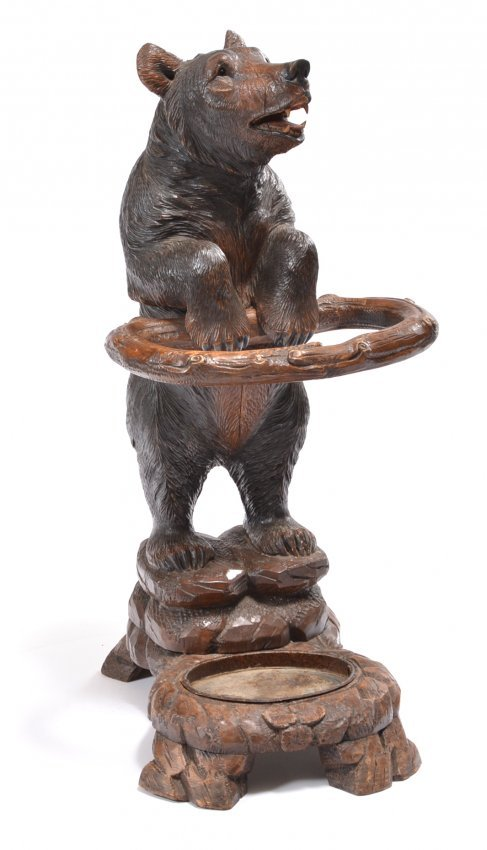 German Black Forest Carved Bear Umbrella Stand Lot 13