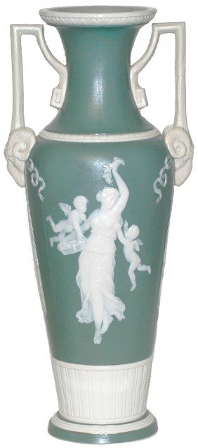 Tall Mettlach Cameo Vase