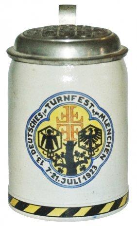 4f Munich Turnfest 1923 Stein W Brewery Shield Lid