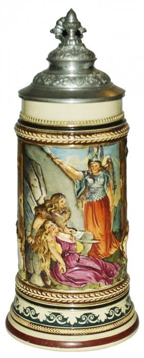 Warrior Woman W A Sword Pottery Stein