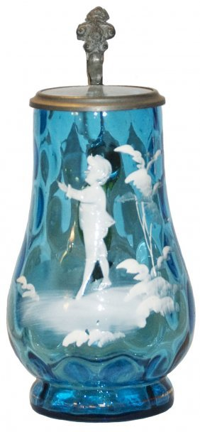 Mary Gregory Style Child Blue Glass Stein W Optics