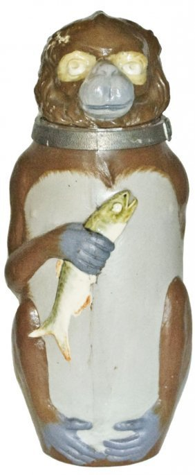 Monkey Holds Fish Mettlach Character Stein