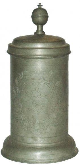 1820 Engraved Floral & Crown Pewter Stein