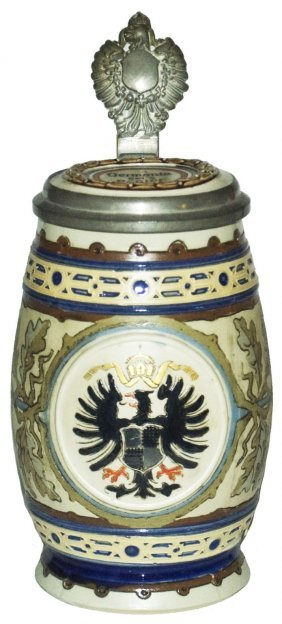 Prussian Eagle Etched Mettlach Stein W Inlay Lid