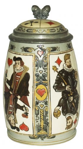 Playing Cards Etched Mettlach Stein W Inlay Lid