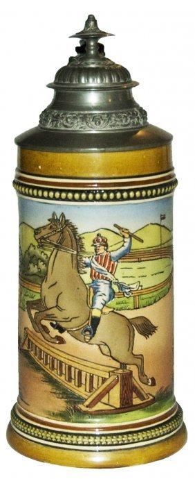 Jockey In Horse Race Hr Pottery Stein