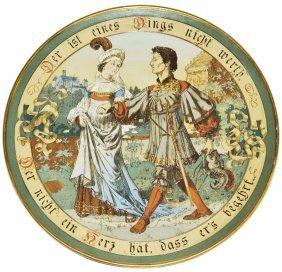 Cavalier & Maiden Mettlach Etched Plaque