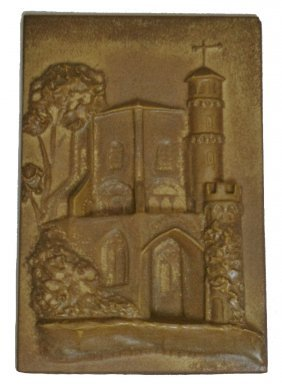 Unusual Abbey Mettlach Stoneware Relief Tile Plaqu