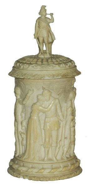 1880 Carved Bone Stein & Lid W Soldier Finial