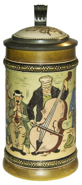 Musicians Hr Pottery Stein W Inaly Lid