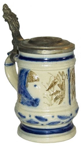 2 Color Whites Utica Stoneware Stein With Children